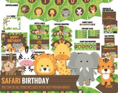 SAFARI BIRTHDAY WATER BOTTLE LABELS / Printable Bottle Labels - DIY Jungle Theme Kids Birthday Party Labels - Table Decor - Digital Download. Safari Theme Bottle Labels, with cute Jungle animals: Lion, Giraffe, Monkey, Zebra, Tiger and Elephant. The perfect touch to your Kids Birthday Party! You could also use them as napkin rings, or whatever you can imagine! INSTANT DOWNLOAD - PDF file. ** This listing is sold as shown and described and DO NOT INCLUDE any customization (color/de...