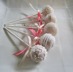 Cake Pops Wedding Cake Pops Made to Order with by TheSweetSource.    Im.definitely a fan of the cakepops!!! Wonder if Tony would go for this....lol
