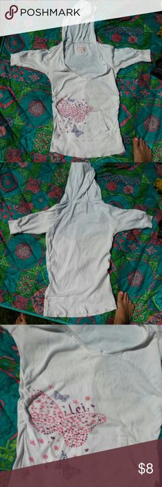 Hoodie Shirt White pocketed hoodie tee with 3/4 length sleeves. Has purty butterfly, star and heart print on it. V-necked with cinchable L.e.i. Tops Sweatshirts & Hoodies