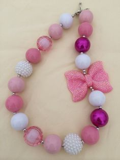 Pink Bow Bubblegum Bead Necklace by CraftyCreationsByLB on Etsy, $16.00