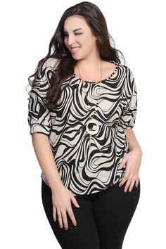 Buy Zebra Print Dolman Short Sleeve Knit Top - $26.00