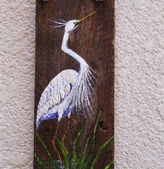 White Heron Egret Hand Painted on Reclaimed Fence Board