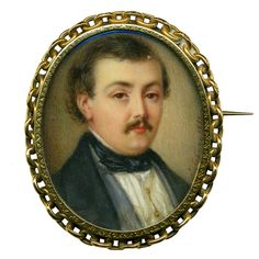 "Antique Georgian Portrait Miniature Gold French Brooch (Hmmm….he looks like my ""100 %"" Swedish daddy, whose mama's line may actually lead back to some generations in Belgium)"