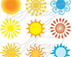 Variety of Summer Suns - SVG cut file for Silhouette and other cutting machines Cartoon Sun, Vintage Marketplace, Silhouette Files, Silhouette Designer Edition, Summer Sun, Cutting Files, Paper Crafts, Cricut, Handmade