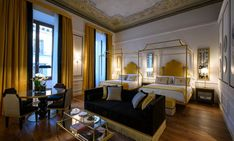 The historic 62 room hotel on the Via de Tornabuoni is surrounded by many high-end fashion boutiques. Guests can climb up Giotto's Campanile, a marbled Gothic tower that delivers spectacular views across the city, and will find the historic Ponte Vecchio right at their doorstep. The hotel's interior design reflects its historic roots from the Renaissance with references to the city's architecture, history, nature, and food are woven throughout the hotel's design and amenities.