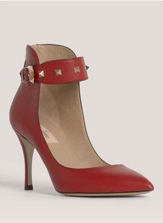Valentino - Stud-buckle detail pumps | Red Pump High Heels | Womenswear | Lane Crawford - Shop Designer Brands Online
