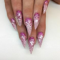 Prom nails, acrylic nails glitter ombre, stiletto nails glitter, glitter co Acrylic Nails Glitter Ombre, Stiletto Nails Glitter, Glitter Acrylics, Bling Nails, Coffin Nails, Glitter Converse, Ombre Nail Designs, Acrylic Nail Designs, Nail Art Designs