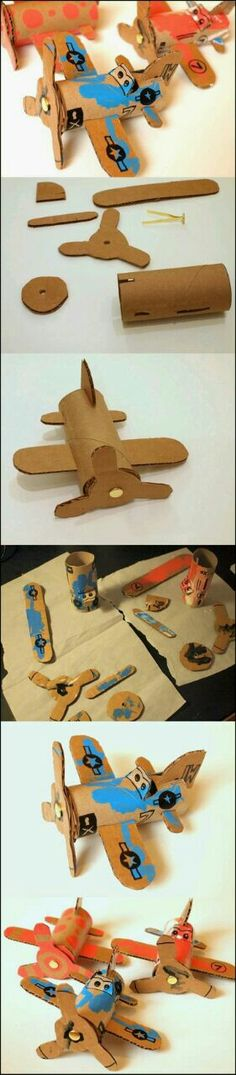 Wonderful DIY Toilet Roll Airplanes is part of Cardboard crafts Airplane - Toilet roll airplanes idea ! Most of children love cars, planes, trucks, trains erm basically anything that moves You can try to foster his love Kids Crafts, Toddler Crafts, Toddler Activities, Projects For Kids, Diy For Kids, Toilet Paper Roll Crafts, Cardboard Crafts, Cardboard Airplane, Toilet Paper Tubes