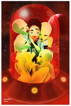 """""""Mi universo tiene zonas de luz, de flora, de criaturas fantásticas, de personajes hilarantes, tiene zonas terroríficas y perturbadoras, así que eso alimenta mi obra.""""  Rafahu entrevistado por Apócrifa Art Magazine No. 21 """"Sexy aliens"""" Digital.  http://apocrifa.com.mx/ciencia-ficcion-apocrifa-21/"""