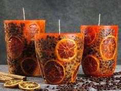 déco en bougies aromatiques: café, citron et cannelle