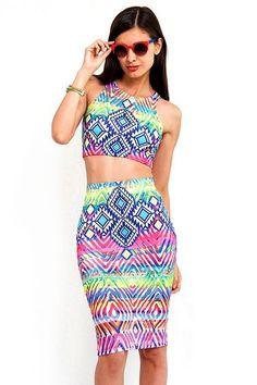 Aztec Neon Two Piece Set #slimskii #fashion #neon