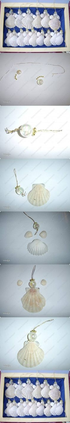 DIY Angels Made of Shells and Jewelry