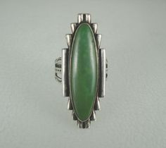 Old Fred Harvey Era Navajo Sterling Silver Long Green Turquoise Ring Sz 6 5   $31