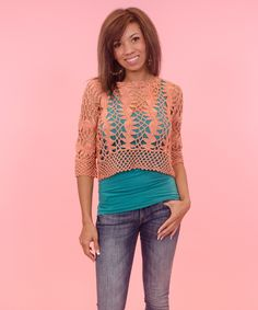 Salmon Crochet Cropped top, $83 - AMaVo. Open crochet-knit crop top. Would look great as a layering piece this summer