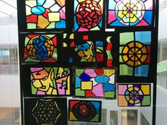 Stained glasses with cellophane paper and cardboard. Vidrieras con celofan.