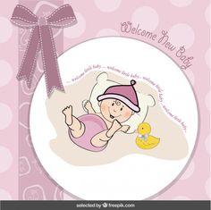 Tarjeta de la bienvenida del bebé con lazo y bebé divertido Vector Gratis