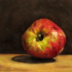 First Russet from the garden - Erster Boskop aus dem Garten  oil on 0.6in, 4 x 4in, original sold, but available as print and cards