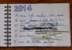 Lathelize art journal 2014 Baie de Somme -  I like the idea of journal writing over a delicate watercolor...