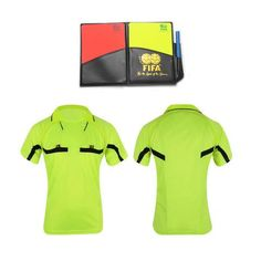 Soccer Referee Jerseys Set with red and yellow cards (Green and Black)