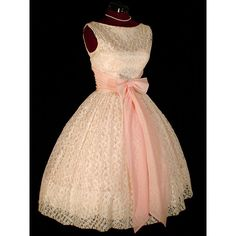 Vintage 50s Pink Lace FULL SKIRT Wedding PARTY Dress S ❤ liked on Polyvore featuring dresses, vintage full skirt dress, vintage lace dress, vintage dresses, pink vintage dress and full skirt