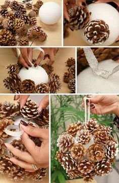 DIY Pinecone-ball ~ love working with pinecones