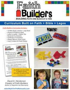 We are excited to launch Faith Builders today! This is a curriculum Built on Faith + Bible + Legos = Faith Builders. This curriculum was created because we have three children of our own and they l. Bible Study For Kids, Bible Lessons For Kids, Kids Bible, Preschool Bible, Scripture Study, Legos, Lego Bible, Free Lego, Lego Activities