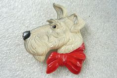 Vintage Art Deco Celluloid Dogs Head brooch