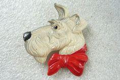 Vintage Art Deco Celluloid Dogs Head brooch