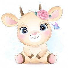 Cute little goat with watercolor illustr... | Premium Vector #Freepik #vector #flower Baby Animal Drawings, Cute Drawings, Cute Animal Illustration, Watercolor Illustration, Cartoon Pics, Cute Cartoon, Cute Little Animals, Baby Animals, Cute Images