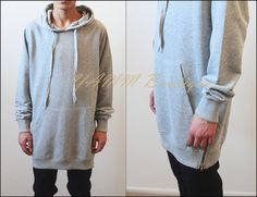 ss16 Oversized Extended Essentials Men's Side Zippers Hoody YezussHoodie Kanye…