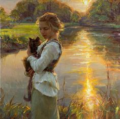 a girl, a tortoiseshell cat, and a glorious sunset landscape, by Daniel Gerhartz