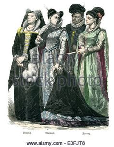 Traditional costumes of Italy, end of the 16th Century. Venice, Milan and Florence. 1583 - Stock Photo
