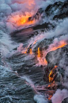 ˚Lava flow into the sea on Hawaii's big island.