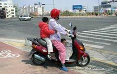 Funny motor bike carrying kids fail