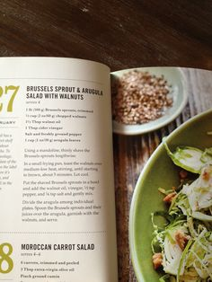 "Brussels sprout and arugula salad with walnuts--Williams Sonoma ""Salad of the Day"""