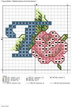 alfabeto azzurro con le rose classico: T