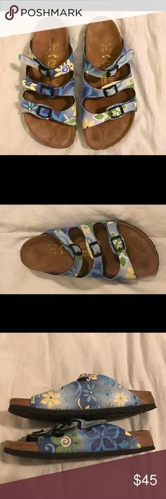 BIRKENSTOCK Papillion Blue Floral Sandals 39 8 Cute Birkenstock blue floral sandal slides. Size 39/8. Have been worn but in very good condition. Birkenstock Shoes Sandals