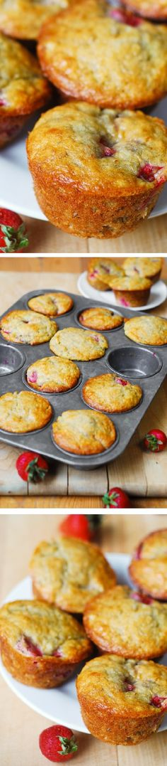 Strawberry banana bread muffins. Only 1/3 cup butter (and 1/3 cup Greek yogurt) used to make 12 regular size muffins. Greek yogurt creates a rich texture and reduces the amount of saturated fats used!