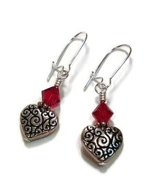 Silver Heart and Red Crystal Valentine Earrings on Etsy, $12.00