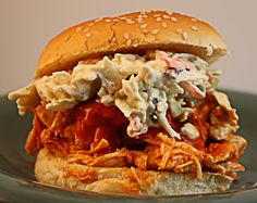 Buffalo Blue Cheese Chicken Sandwich - shredded buffalo chicken with blue cheese slaw. SO GOOD, salty enough without adding salt to the slaw. slaw is also pretty creamy, we used more cabbage than asked for! Shredded Buffalo Chicken, Buffalo Chicken Sandwiches, Buffalo Chicken Recipes, Chicken Sandwhich, Pulled Chicken, Chicken Meals, Chicken Tacos, Bbq Chicken, Chicken Salad