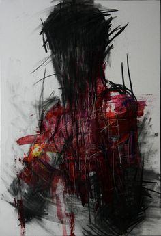 [20] untitled oil & charcoal  on panel 72 x 72 2013 by KwangHo Shin, via Behance