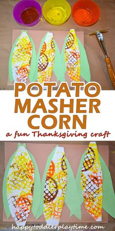 Potato Masher Corn - HAPPY TODDLER PLAYTIME Here is a great Fall and Thanksgiving corn craft for toddlers or preschoolers! Create textured corn on the cobs with a potato masher! Thanksgiving Crafts For Toddlers, Thanksgiving Crafts For Kids, Fall Toddler Crafts, Corn Thanksgiving, Fall Art For Toddlers, Harvest Crafts For Kids, Montessori, Daycare Crafts, Autism Crafts