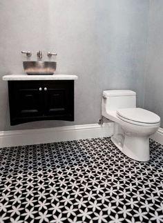 Pattern black and white bathroom tiles via milideas