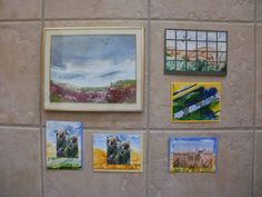 encaustic landscapes and cards (bottom 3 incorporate small copies of my sister-in-law's oil paintings)