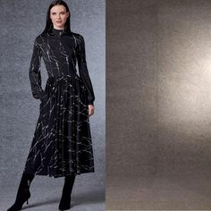 There are so many gorgeous details to this Vogue dress pattern by @guylarocheparis, we don't know where to begin! The movement of this skirt? Divine. Mock-turtle neck? So on trend. And pockets?! Say no more