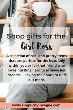 Shop or get inspired by my gift ideas for girl bosses.  A selected list of fun, cool, pretty and useful items that are perfect for the boss lady within you or for that friend who loves hustling hard to achieve her dreams. Get things done with style! Click on the photo to find out more. #GirlPower  Come back here often, because I'll keep this list always updated with new cool items.  #girlboss #bossbabe #beingboss #giftsforher #giftideas #girlbosses