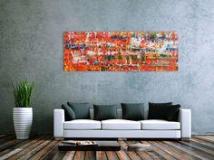 Modernes Acrylgemälde abstrakt in orange 60x180cm von xxl-art.de