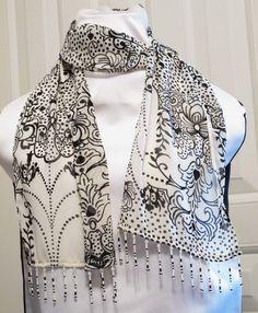 Chiffon Hand Beaded Scarf Beaded Bags, Scarf Wrap, Purses And Bags, Shawl, Scarves, Kimono Top, Wraps, Chiffon, Design