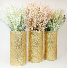 Wedding Centerpiece, Gold Wedding Decor, Cylinder Vase, Black and Gold Party Decor, Graduation Party, Glitter Vases, Pink and Gold, Set of 3
