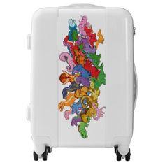 and Colorful Dinosaurs Luggage - custom Luggage Suitcase, Carry On Luggage, Third Base, Custom Luggage, Suitcases, Dinosaurs, Trunks, Colorful, Make It Yourself